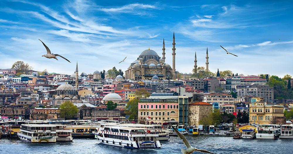 Istanbul - Port of Instanbul with Hagia Sophia