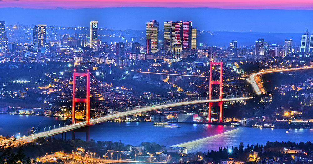 Istanbul - Skyline of Instabul with Bosphorus Bridge