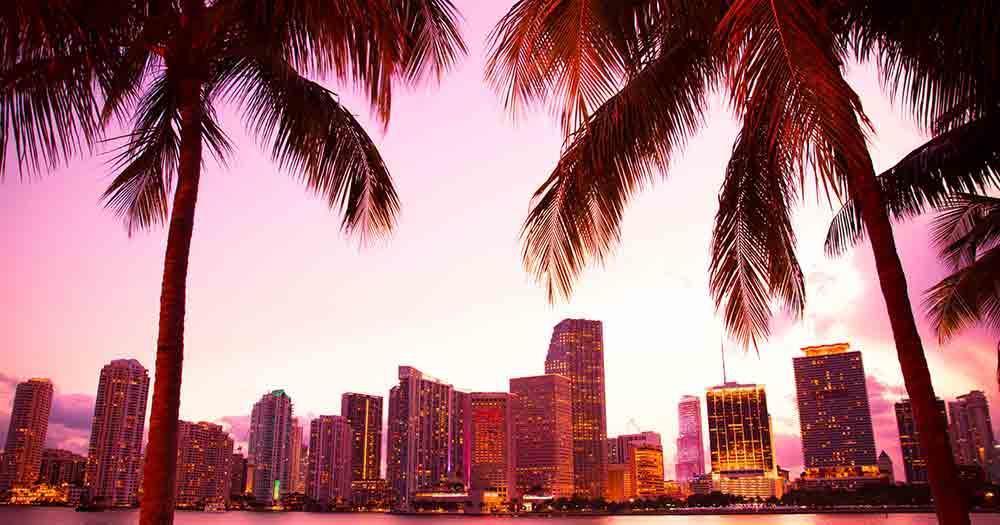 Miami - The skyline of Miami in beautiful light