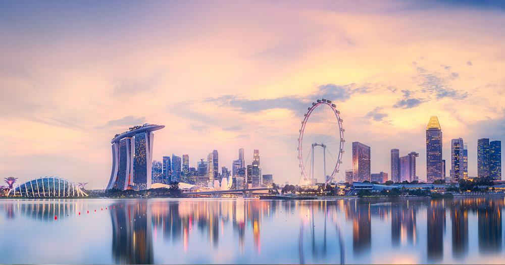 Singapore - Skyline with view of the Marina Bay