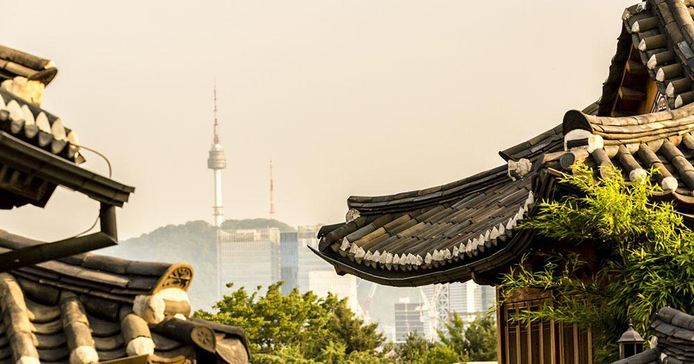 Seoul - View of the Namsan Tower from Bukchon Hanok Village