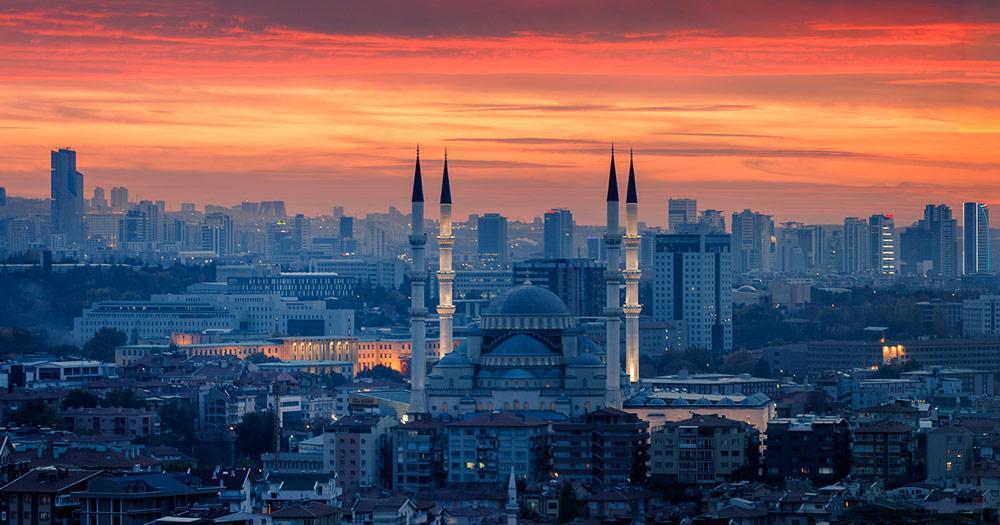 Ankara - The Kocatepe Mosque in the evening light
