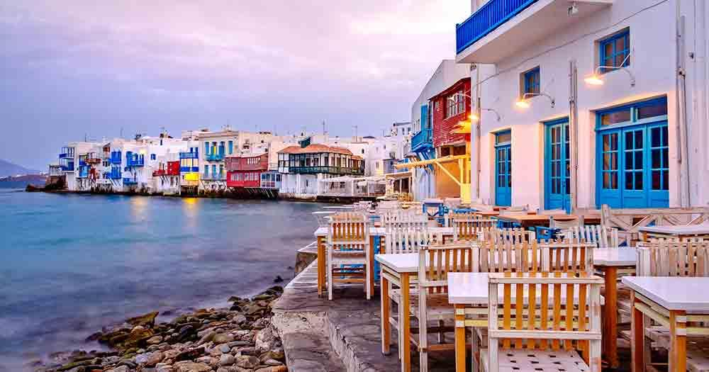 Mykonos - View of the houses and the sea