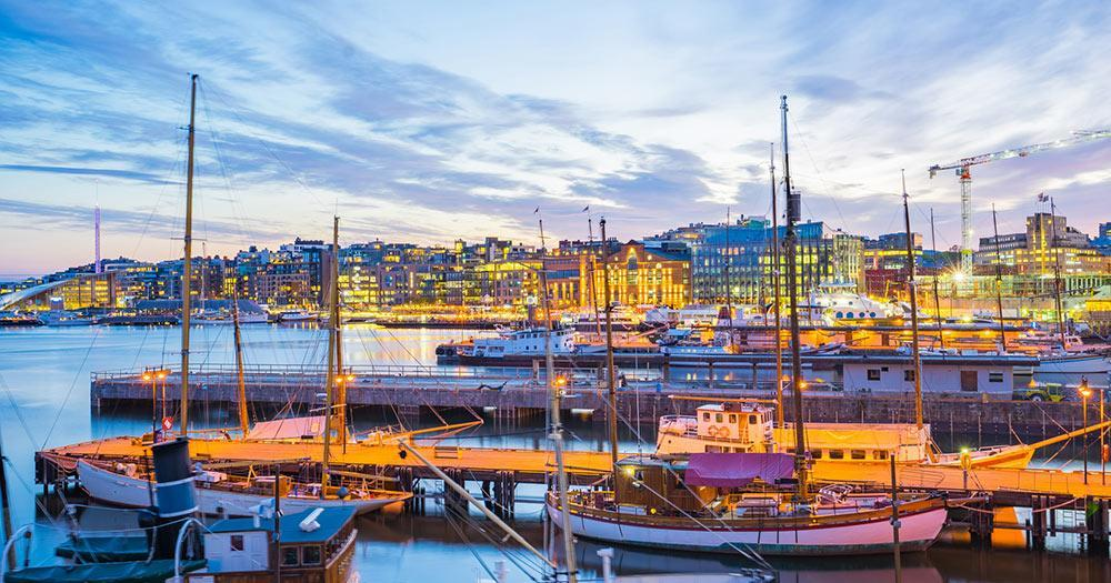 Oslo - The harbour of Oslo in the evening light