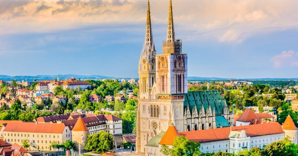 Zagreb - View of the cathedral of Zagreb