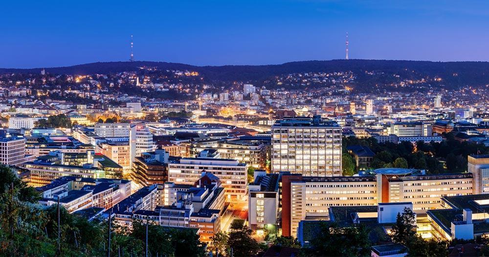 Stuttgart - Skyline of Stuttgart in the evening light