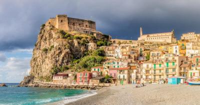 Calabria - View of the beach of Scilla and the Castello Ruffo