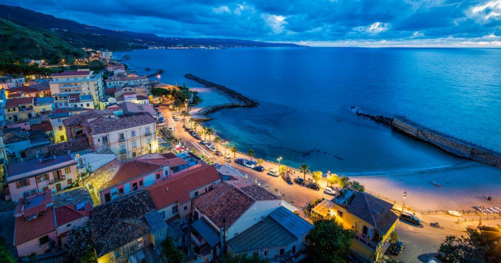 Calabria - View of the town of Pizzo at night