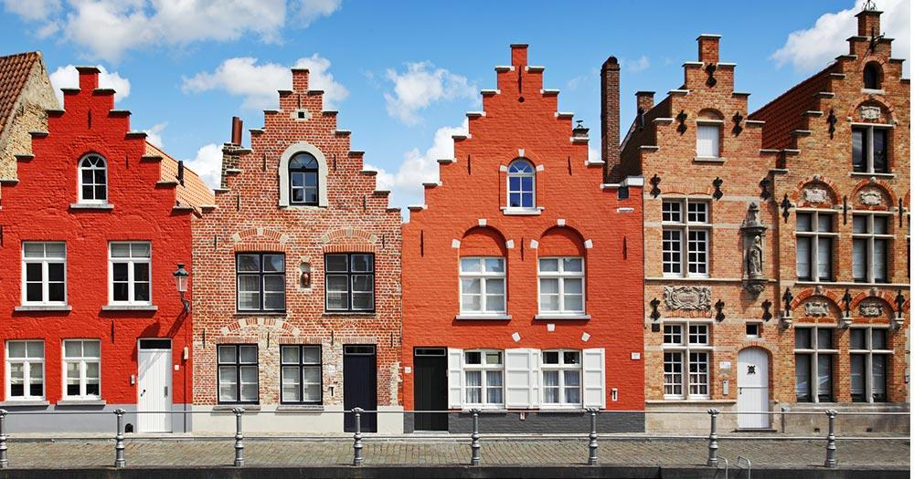 Bruges - Row of houses in the old town of Bruges