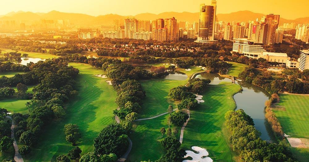 Shenzhen - city golf course in the evening light