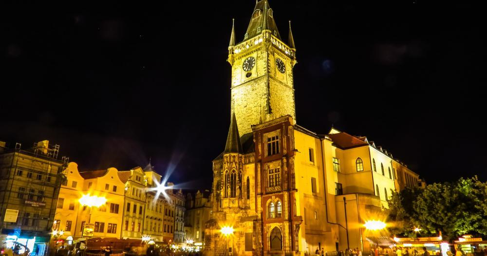 Prague - View of the Old Town Hall at night