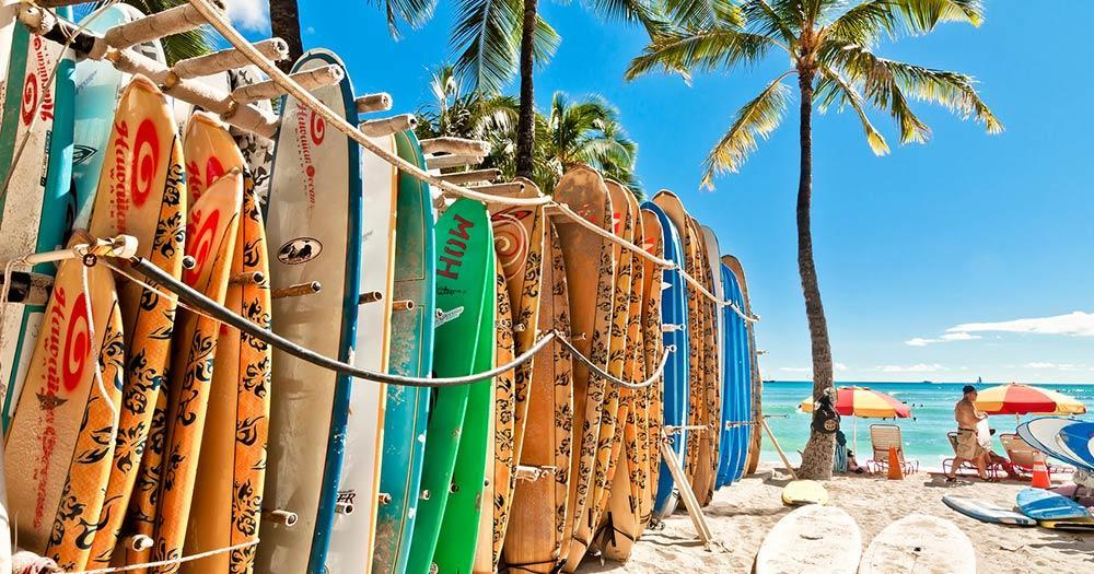 Honolulu - Surfboards at Waikiki Beach