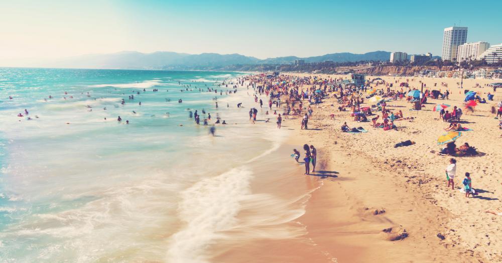 Santa Monica - beach at the blue sea