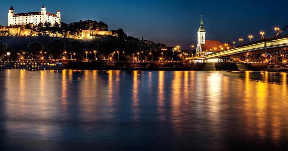 Bratislava - The evening view of Bratislava Castle