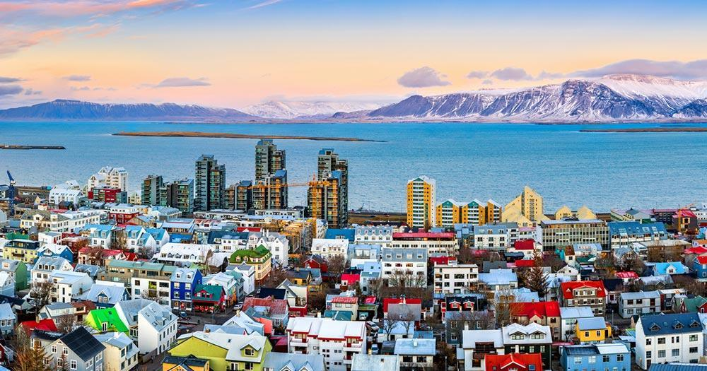Iceland - View of the harbour basin of Reykjavik
