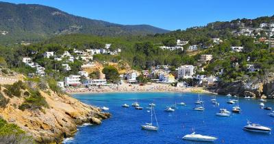 Ibiza - View from the sea to the beach