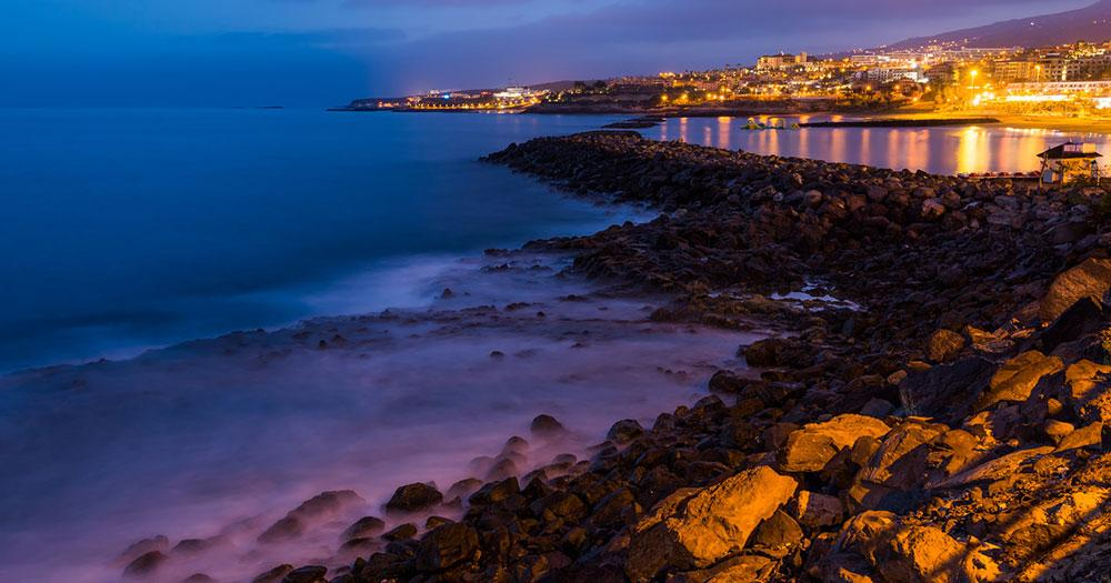 Tenerife - View of a bay at night