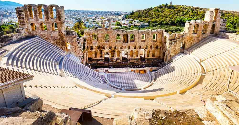 Athens - View of the amphitheater of the city
