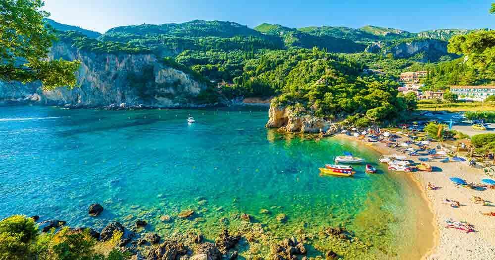 Corfu - View to the beach and the sea